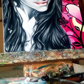 Ritratto di ragazza con sfondo floreale - Olio su tela 40X40