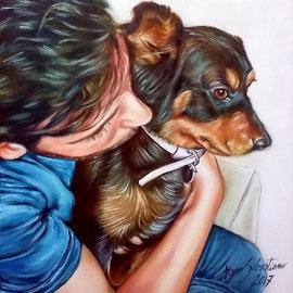 Ragazzo con cane - Olio su tela 40X40