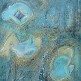 Blue bodies - Gouache-Ölkreide auf XL Leinwand 50x120 cm 2003
