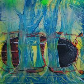 Wald vor Wild...Lack, Acryl auf Leinen, 50 x 40 cm