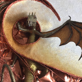 THE DRAGON IS BACK-2018, 100cm-70 cm Materic painting/ in relief with canvas, iron wire, gravel and clay, realized in acrylics