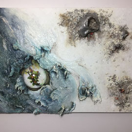 Nature In A Bubble-2015  100cm-70cm Materic installation with cement, plastic, clay realized in acrylics