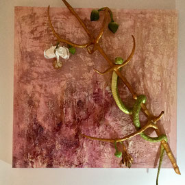 TEMPTATIONS OF LIFE-2014, 120 cm-120 cm Materic painting/ in relief with glue, clay, wood and iron wire, realized in acrylics
