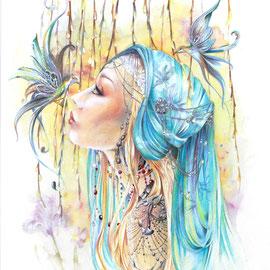 Blue Bird Dimension de l'oeuvre 40x50cm. signée et encadrée,  Disponible tarif sur demande