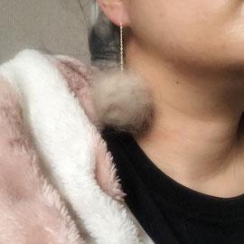 うさぎ毛で作ったアメリカンピアス
