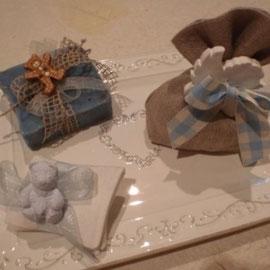Orsetto azzurro, angelo e sapone azzurro