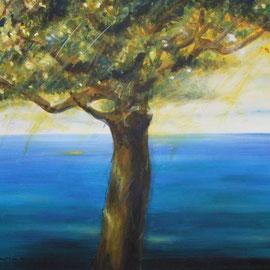 Der Baum-das Meer, Acryl, 40x70, 2006