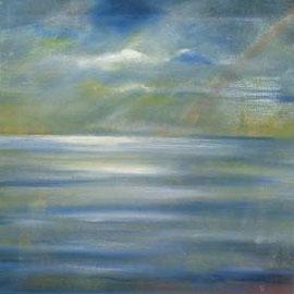 Wolke und Meer, Acryl unf mischtechnik, 50x60, 2010