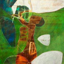 Linzuël, 99 x 160 cm, Acryl/ Ölpastell auf Leinwand, 2016