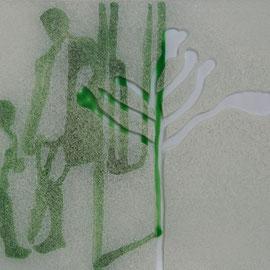 21 x 15 cm, Lichtschutz und Acryl auf Glas