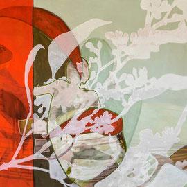 Ji ora, 200 x 138 x cm,  Acryl/Ölpastell auf Leinwand, 2018