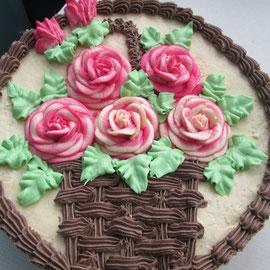 Пять алых роз в одной корзине Татьяне к пятидесятилетию!
