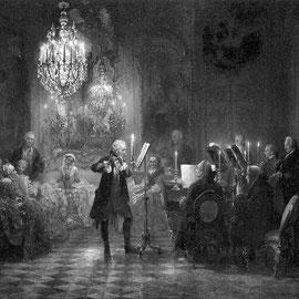 Adolph von Menzel: Flötenkonzert in Sanssouci. 1850/52