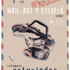 Cartel de Edu Barbero para nuestra Convocatoria. De la serie Dibujos Negros. El poema de visual se llama: Bagaje del exiliado
