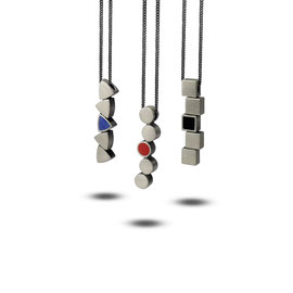 MODULARIA pendants - oxidized and brushed 925 sterling silver, enamel