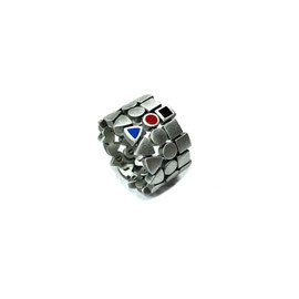 MODULARIA rings - oxidized and brushed 925 sterling silver, enamel