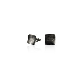 MATERIKA square earstuds - textured and oxidized 925 sterling silver