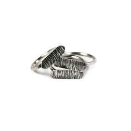 MATERIKA long rings - textured and oxidized 925 sterling silver