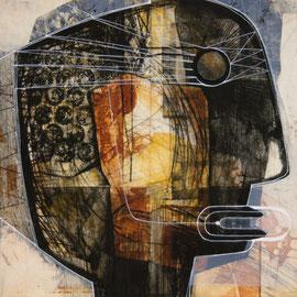 tOG No.16 - Tina Wohlfarth - Kopfsache V,  Unikat - Aquatinta / Kaltnadel / Reservage / Leim / Zeichnung auf Kupferdruckbütten, 47 x 46,5 cm und 70 x 70 cm mit Rahmen, 2013