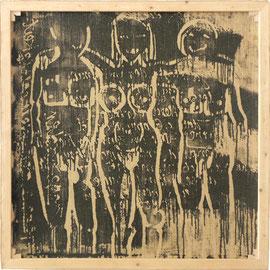 """tOG Nr. C.U.F. 010 - Künstler C.U. FRANK - Werk Titel """"In Ruhe vor dem Publikum, wenn es überfordert ist"""", 2013, Acryl auf Jute auf Keilrahmen - 150 x 150 x 3,5cm  (c) tOG-Düsseldorf"""