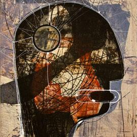 tOG No. 41 - Tina Wohlfarth - Kopfsache III, 2013, 50 x 50cm, Kombinationsdruck / Collage / Zeichnung