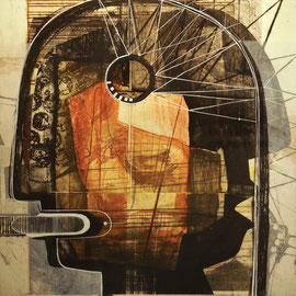 tOG No.15 - Tina Wohlfarth - Kopfsache VII,  Unikat - Aquatinta / Kaltnadel / Reservage / Zeichnung auf Kupferdruckbütten, 47 x 46,5cm, 2013