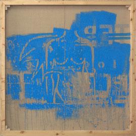 """tOG Nr. C.U.F. 009 - Künstler C.U. FRANK - Werk Titel """"Ein Engel band sich an meine Flügel I"""", 2014, Acryl auf Jute auf Keilrahmen - 150 x 150 x 3,5cm  (c) tOG-Düsseldorf"""