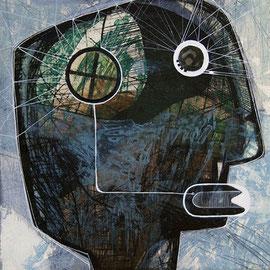 tOG T.W. 40 Kopfsache IV, Kombinationsdruck / Collage / Zeichnung, 50 x 50cm (o.R.), 2013