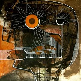tOG T.W. 056 Kopfsache IX - Kombinationsdruck-Collage-Zeichnung - 80x80 cm - 2015 - Tina Wohlfarth Künstlerin der tOG-Düsseldorf