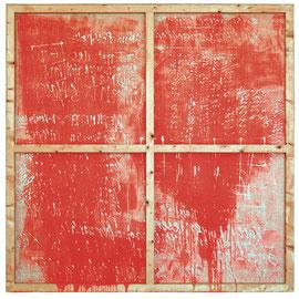 "tOG Nr. C.U.F. 001 - Künstler C.U. FRANK - Werk Titel ""Haût / Oben"" - Acryl auf Jute mit Keilrahmen - 200 x 200 x 5,5 cm  (c) tOG-Düsseldorf"