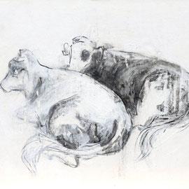 O.T., 2011, Kohle/Acryl auf Papier auf Holz, 27 x 30 cm