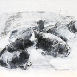 O.T., 2011, Kohle/Acryl auf Papier auf Holz, 30 x 40 cm