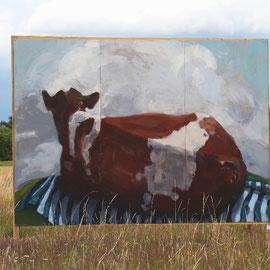 Hab keine Angst vor der großen Kuh, 2015, Acryl auf Holz, 260 x 360 cm