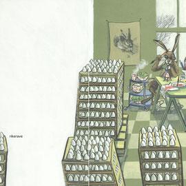 Der Osterhase schafft die viele Arbeit nicht mehr und sucht sich Verstärkung.