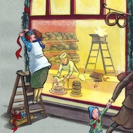 Da entdeckte die  kleine Anna ein wahrhaft zauberhaftes kleines Holzpferd im Bäckereischaufenster.