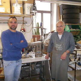 Signore Giuseppe Doria & son, of Vincenza Rossi shoes, making all leather shoes by hand                 B&B La Mela Rosa