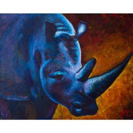 2016-02 Nashorn (Acryl auf Leinwand, 70 x 50 cm)
