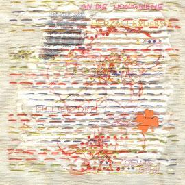 """""""Brief an die Honigbiene, Herzallerliebste"""" (2011), Seidenstickerei, 22x 20 cm"""