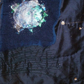 """Detail aus """"Geburtsbild 1 : Mainacht"""" (2012), Quilt aus Seide, 81 x 108 cm"""