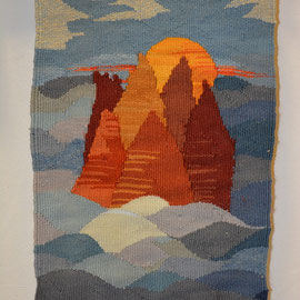 Steine im Wasser, 25 x 35 cm, Freie Gobelinweberei; Kette: Hanf, Schuss: feine Gobelinwolle