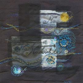 """""""Die Hoffnung"""", Freie Stickerei auf Seide, 25 x 25cm"""