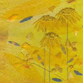 """Detail aus """"Sonnenbraut und Mädchenauge"""", Freie Stickerei, 75x 25cm"""