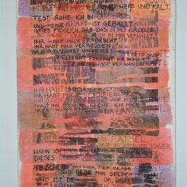 """""""Lied des Vulkans"""" (2014), 80 x 55 cm; Freie Handstickerei, Acrylschrift, Papierlamination und Transferdruck; Organza und Non-woven-fabric; Text / Gedicht © NH"""