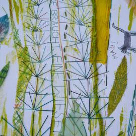 """Arbeit von Nadja Hormisch (Detail): """"Jede Katze braucht eine Wiese"""" (2012), 42 x 49 cm o.R.; Freie Handstickerei, Transferdruck und Appliqué; Baumwolle, Leinen, Seide, Papiergarn, Angelina-Fasern, Lurexgarn"""
