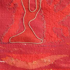 """Detail aus """"Feuer: Feuertanz auf dem Ätna""""(2011/2012), Freie Gobelinweberei, 30  x 38 cm"""