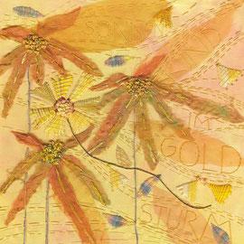"""Detail aus """"Sonnenkind im Goldsturm"""" (2013), Freie Stickerei, 75 x 25 cm (Auftragsarbeit)"""
