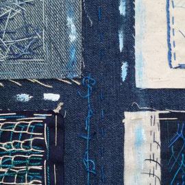 """Detail aus """"Kleine blauweiße Stickexploration"""", Freie Stickerei, 100 x 50cm"""