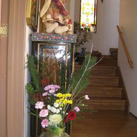 ドア前お花