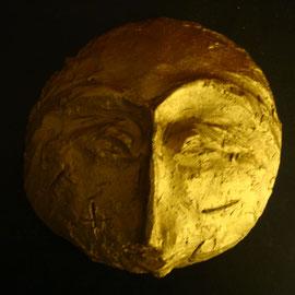 Gesicht, vergoldete Tonmaske