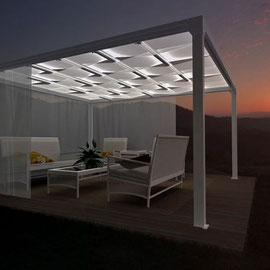 pergola aluminium avec une toile coulissante et tanche. Black Bedroom Furniture Sets. Home Design Ideas